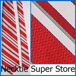XL EXTRA LONG 62 DANIEL CREMIEUX STRIPE RED WHITE THICK SILK NECK TIE