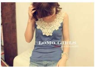 Cute Womens Sleeveless Tank Tops T Shirt girl Vest flowers adornment