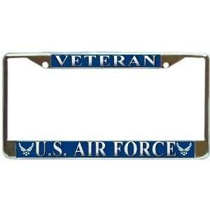 USAF US Air Force Veteran Chrome Metal License Plate Frame