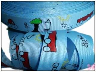 BOY doodle car tree sun grosgrain ribbon 5Yd U PICK