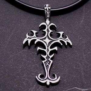 Gothic Fleur de lis Cross Pewter Pendant w PVC Choker