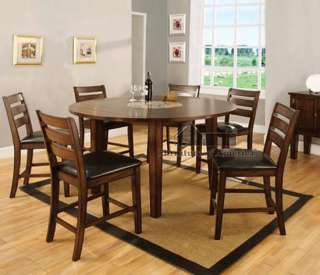 7PC OAK FINISH WOOD COUNTER DINING TABLE SET LAZY SUSAN