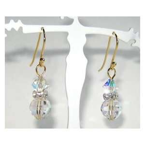 Dazzling Swarovski Crystal Earrings   14K Gold Plated