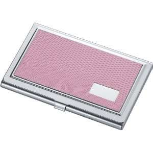Pink Synthetic Leather Business Card Case for Women