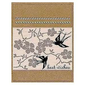 Card Art Decorative Birds Wood Mounted Rubber Stamp Kit