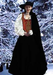 REGAL RED BROCADE AND BLACK VELVET RENAISSANCE 5 PIECE COSTUME BODICE