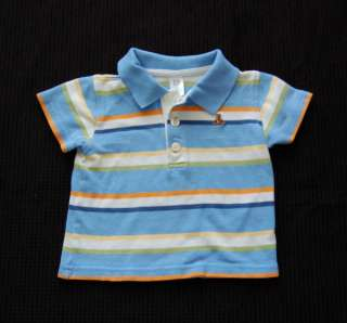 Baby Gap Boy Summer Striped White Blue Polo Shirt size 6 12 month