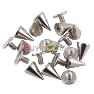 30PCS 10mm Metal Cone Screwback Spikes Stud Punk Bracelet Leather Bag