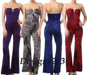 New Sexy Strapless Trendy Animal Print Leopard Jumpsuit 4 Colors S/M/L