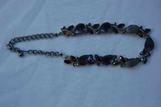 LOT 244~ESTATE COSTUME JEWELRY~ANTIQUE PURPLE ROSE RHINESTONE~MARKED