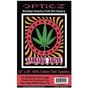 Opticz Cannabis Sativa Pot Leaf Blacklight Reactive Cloth
