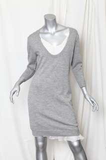 PHILLIP LIM Grey Knit CASHMERE Blend Sweater Dress+Ruffle SILK