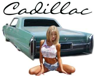 CADILLAC T SHIRT PINUP GIRL 69 COUPE DEVILLE SHIRT