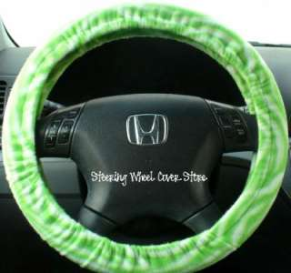 Car Truck Universal Grip Steering Wheel Cover Soft Lime Green Zebra
