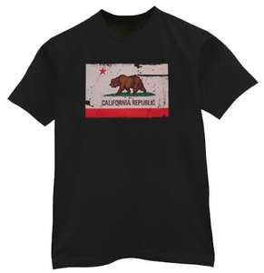 CALIFORNIA REPUBLIC STATE FLAG T SHIRT ALL SIZES & COLORS NEW