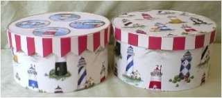 Fabric Covered Hat Boxes, Lighthouse fabric, Lg. 3 set