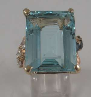 Estate 23ct Aquamarine Sapphire Diamond 14k Rose Ring