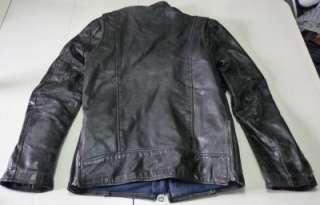 70S BRIMACO MENS BLACK LEATHER CAFE RACER MOTORCYCLE BIKER JACKET XS
