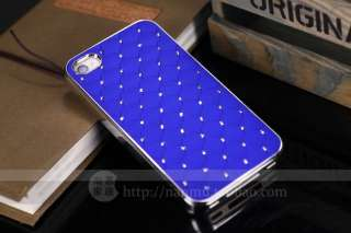 Blue Luxury Bling Crystal Star Hard Case Skin+Free Film For iPhone 4
