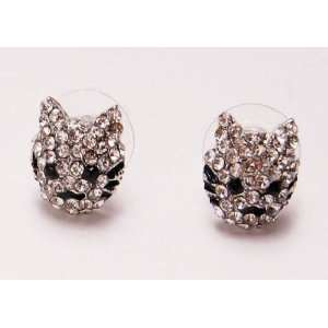 Ice Bling Cartoon Clear Crystal Rhinestone Lion Kitty Cat Whisker Stud