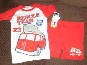 NWT NEW BOYS FIRE TRUCK RESCUE SUMMER PAJAMAS SET 6