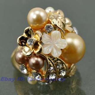 SPRING FLOWERS OLD GOLD COLOR ALLOY 8# RING