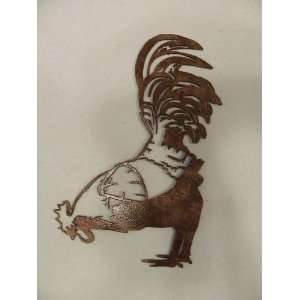 Rooster Pecking Home Decor Metal Wall Art
