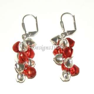 JINGLE BELL** CHRISTMAS SEASONAL RED/SILVER EARRINGS