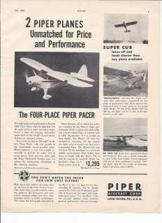 RARE 1950 Piper Pacer & Super Cub Plane Ad