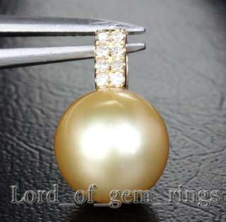 Genuine 10mm South Sea Pearls 14K Yellow Gold Pave Diamond pendant For