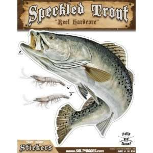 Salty Bones Large Speckled Trout Action Decal   13.5 x 10