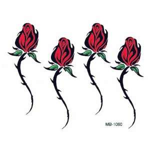 Tribal Red Roses Temporary Tattoo Body Art