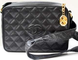 AUTH Chanel Black Caviar Leather Camera Bag
