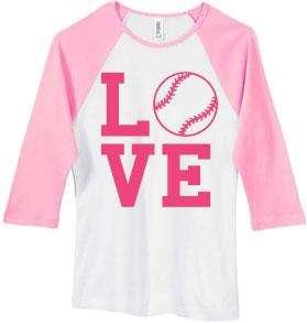 LOVE Softball Juniors White/Pink Baseball Style T Shirt