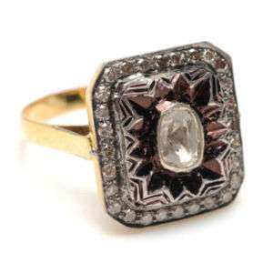 925 Sterling Silver 14k Yellow Gold Ring Rose Cut Diamond Ring Jewelry