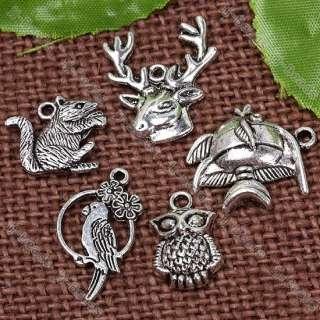 Plated Animal Owl Bird Deer Fish Charm Pendant Finding Jewelry