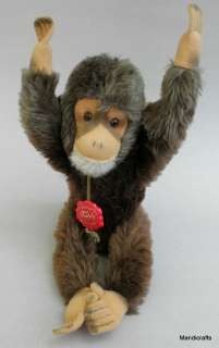 Hermann Original Teddy MOHAIR PLUSH Jocko MONKEY CHIMP 36 cm ID tags