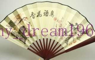 Handcraft Asian Chinese Silk folding Bamboo Fans