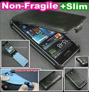 Black Ultra Slim Flip Leather Case Hard Back Cover fo Samsung Galaxy