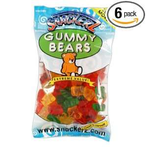 Snackerz Gummy Bears, 8 Ounce Packages (Pack of 6)
