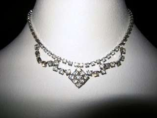 Vintage Clear Rhinestone Choker Necklace Silver Base Metal 15
