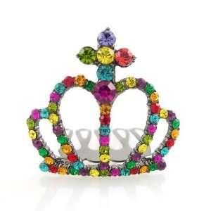 Multi colored Swarovski Crystal Mini Tiara Comb 1.5 Wide Beauty
