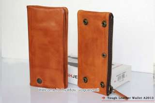 New TOUGH Removable Men Leather Brown Long Wallet a2013