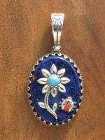Carolyn Pollack Sterling Multi Gem Veronica Benally Flower Ladybug