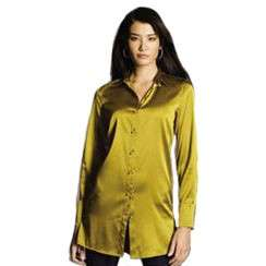 Sutton Studio Womens Silk Charmeuse Button Front Big Long Sleeves