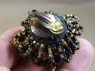 Art Deco Black & Golden Glass Seed Bead Pom Pom Earrings