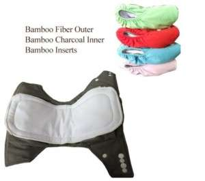 Organic Bamboo Charcoal Baby Cloth Diapers& Inserts