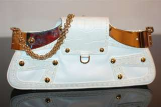HOT Versace Famous Crocodile Print Icon Bag White Leather Gold Chain