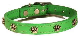 Paw Print Emerald Green Leather Pet Dog Collar