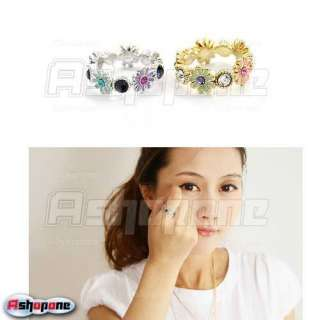 Cute Lovely Gold/Silver Color Daisy Flower Rhinestone Ring